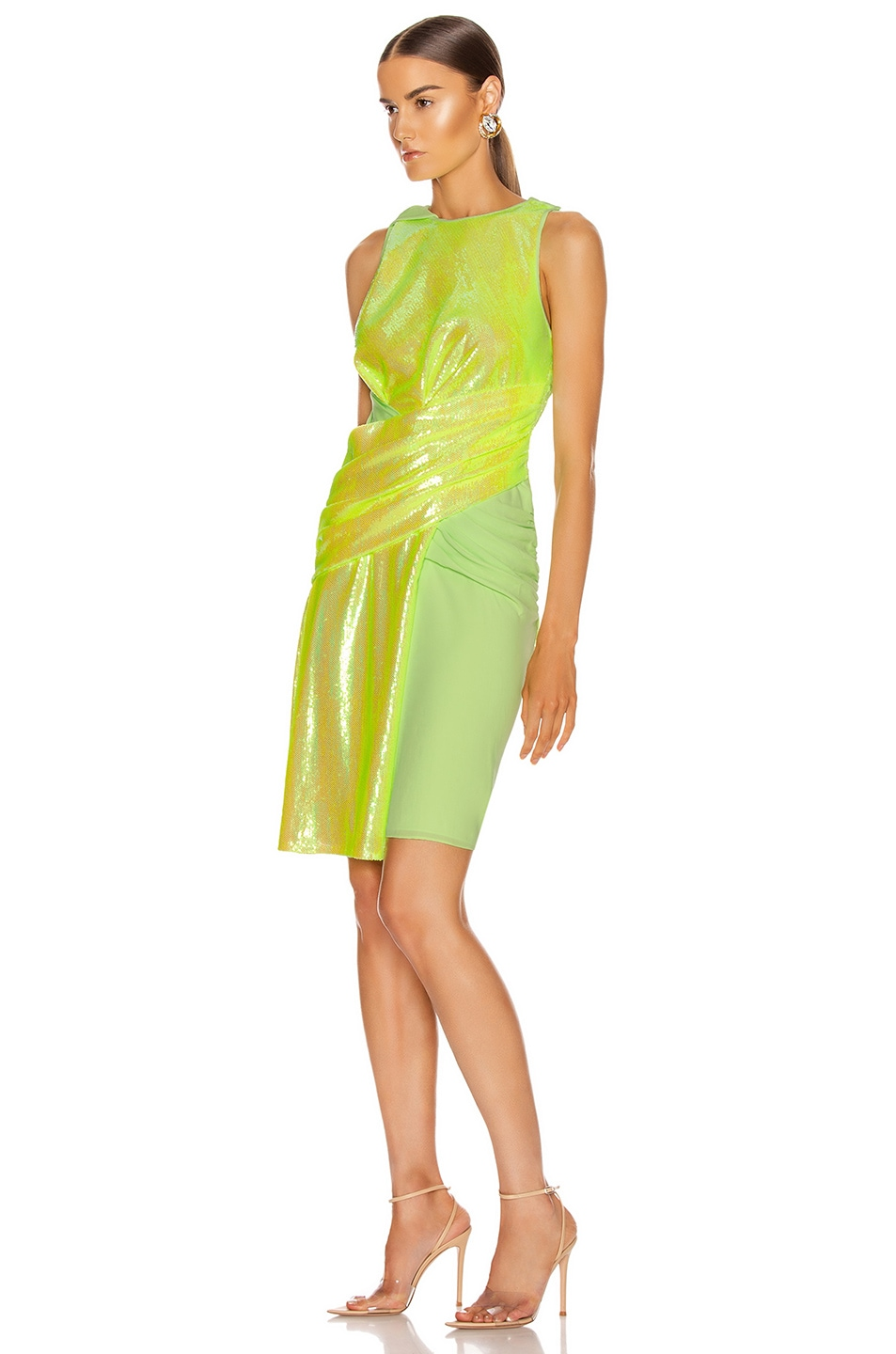 Image 3 of Sies Marjan Quincy Wrapped Dress in Fluo Yellow