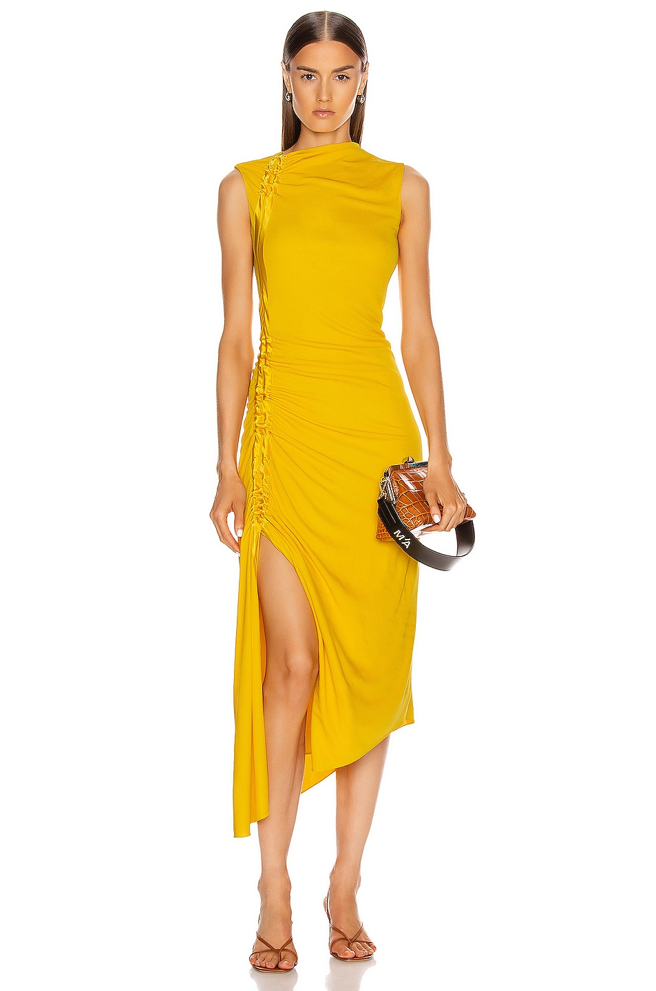 Image 1 of Sies Marjan Fontana Side Ruched Dress in Corn