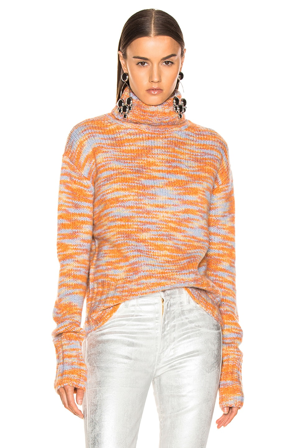 Image 1 of Sies Marjan Parker Turtleneck Sweater in Peach, Lime & Blue
