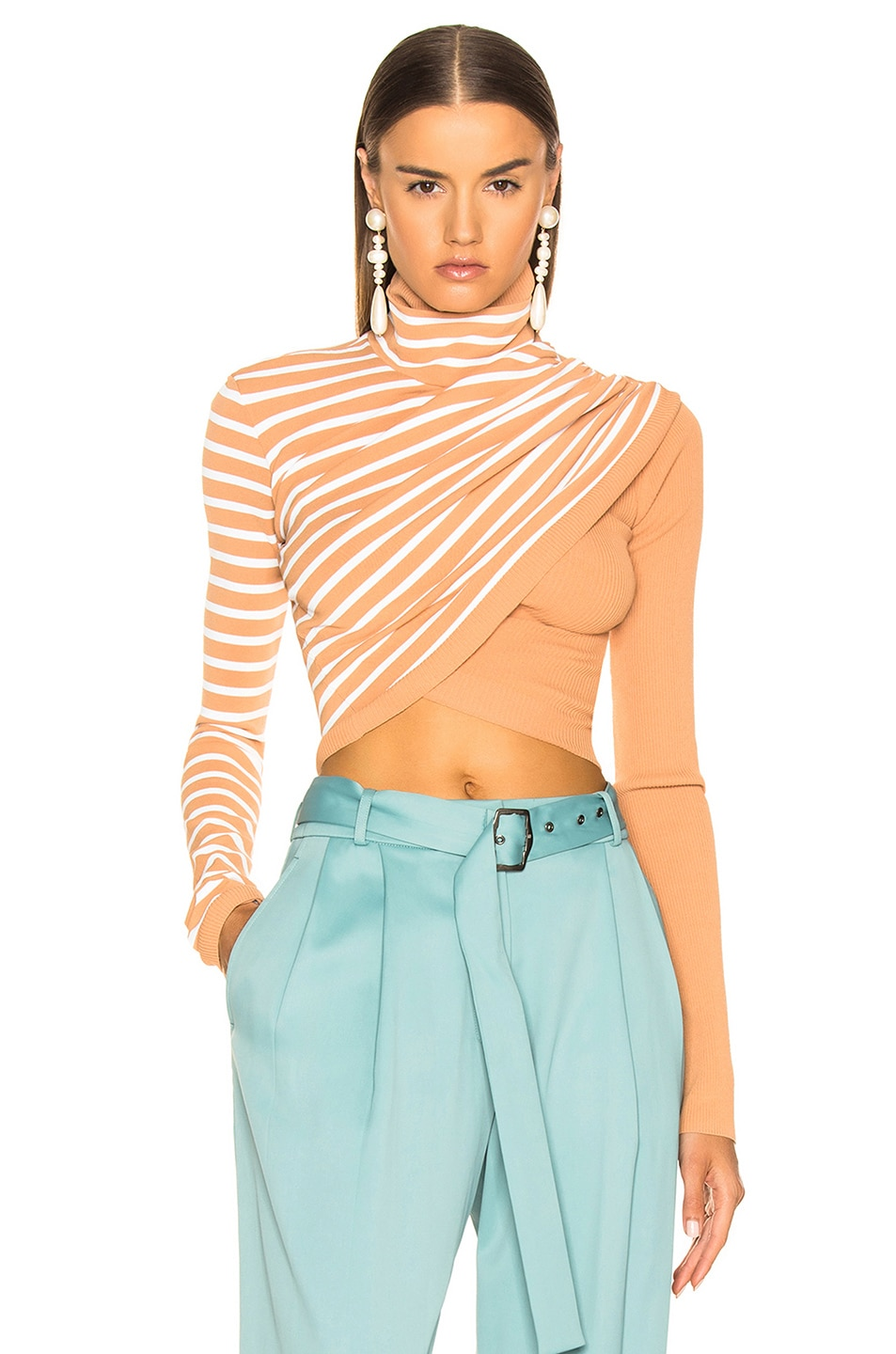 Image 1 of Sies Marjan Jenn Wrap Crop Turtleneck Sweater in Cinnamon & Salt Stripe