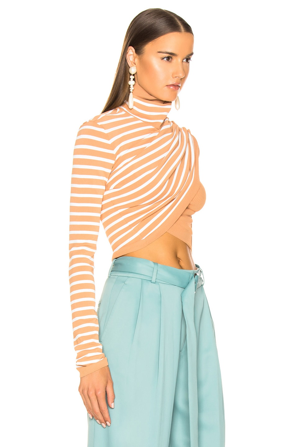 Image 2 of Sies Marjan Jenn Wrap Crop Turtleneck Sweater in Cinnamon & Salt Stripe