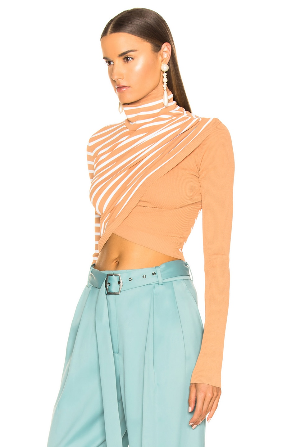 Image 3 of Sies Marjan Jenn Wrap Crop Turtleneck Sweater in Cinnamon & Salt Stripe