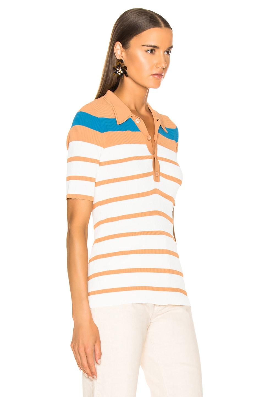 Image 2 of Sies Marjan Rory Collared Short Sleeve Knit Top in Blood Orange, Blue Iris & Salt Stripe