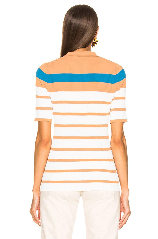 Image 3 of Sies Marjan Rory Collared Short Sleeve Knit Top in Blood Orange, Blue Iris & Salt Stripe