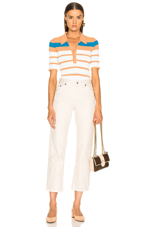 Image 4 of Sies Marjan Rory Collared Short Sleeve Knit Top in Blood Orange, Blue Iris & Salt Stripe