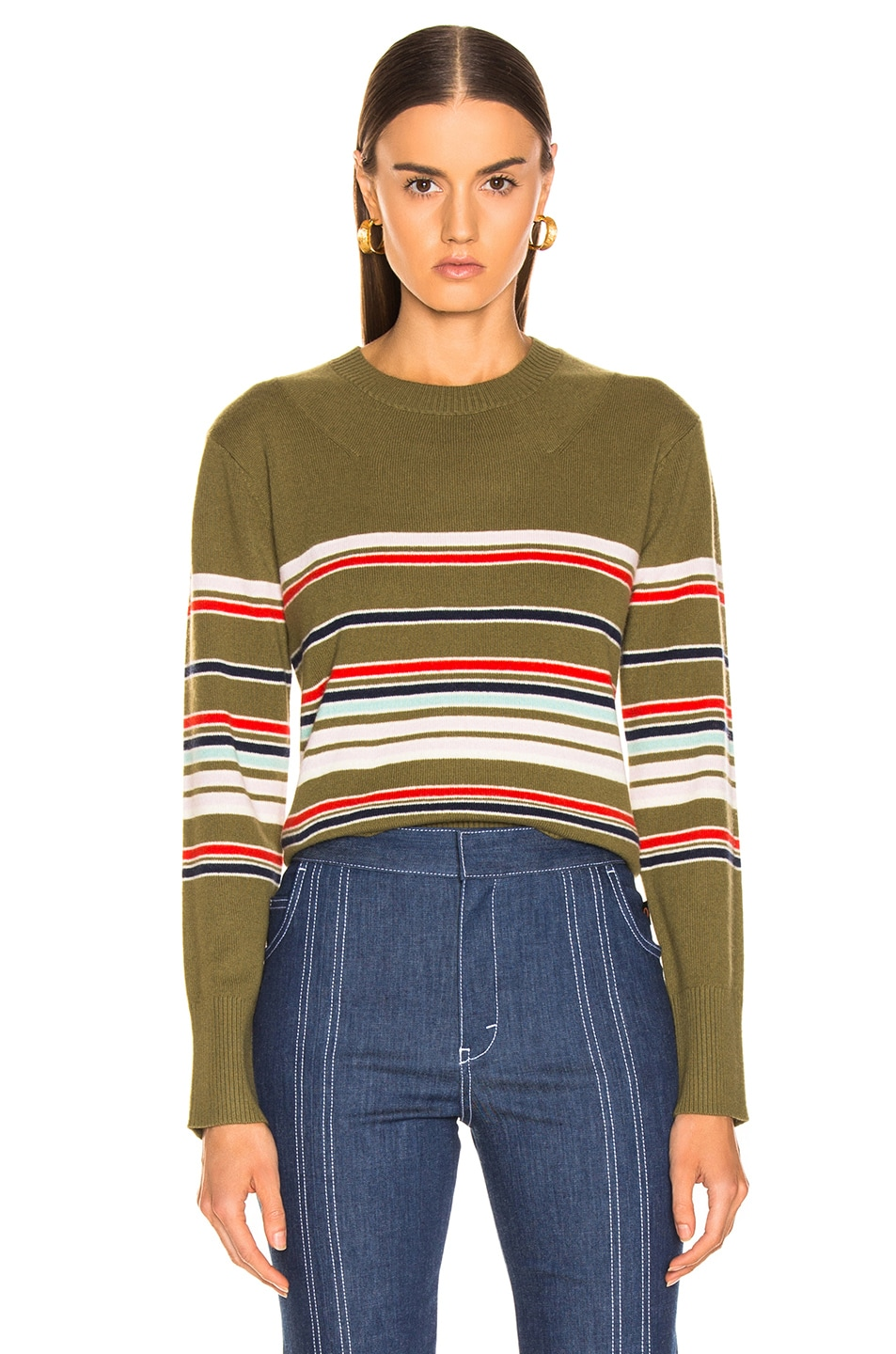Image 1 of Sies Marjan Freddy Striped Sweater in Olive Multi