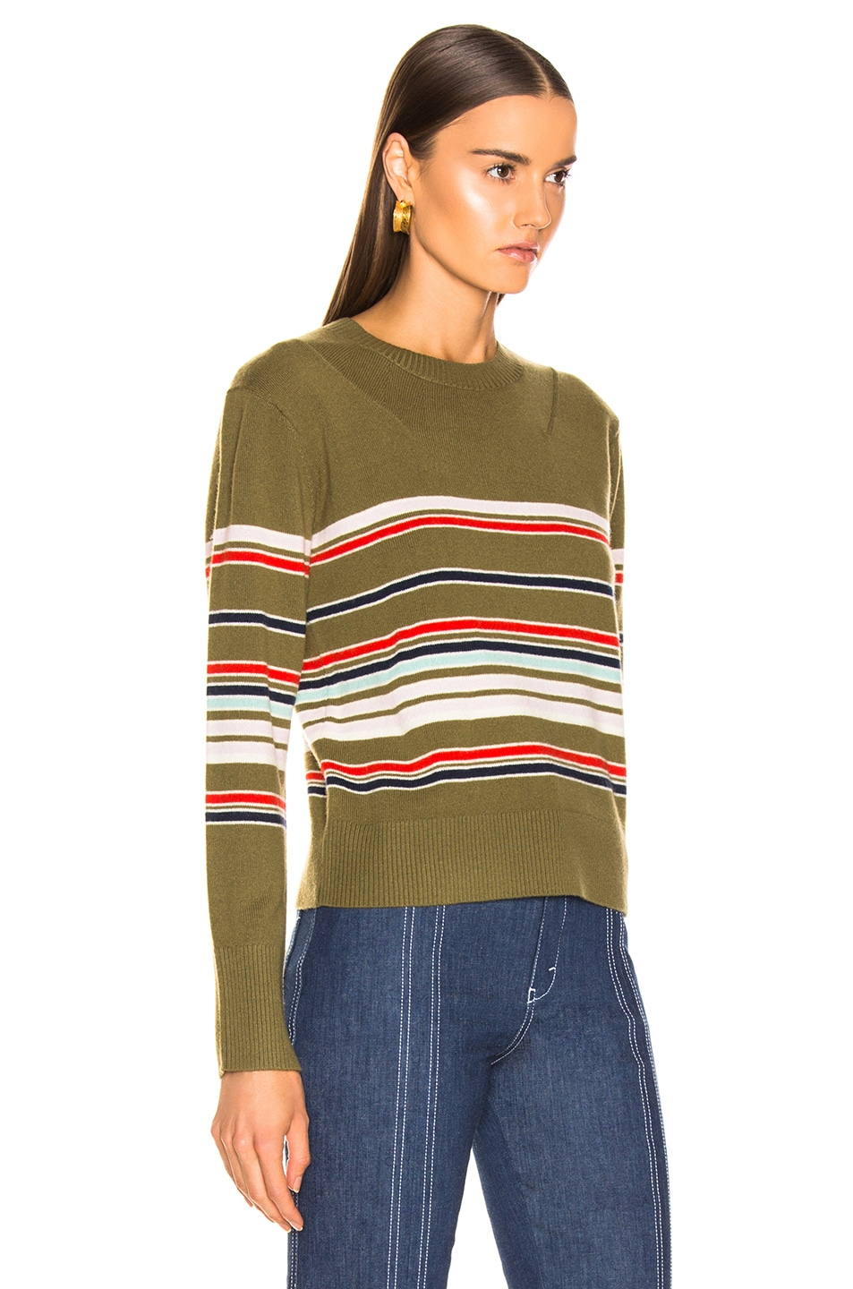 Image 2 of Sies Marjan Freddy Striped Sweater in Olive Multi