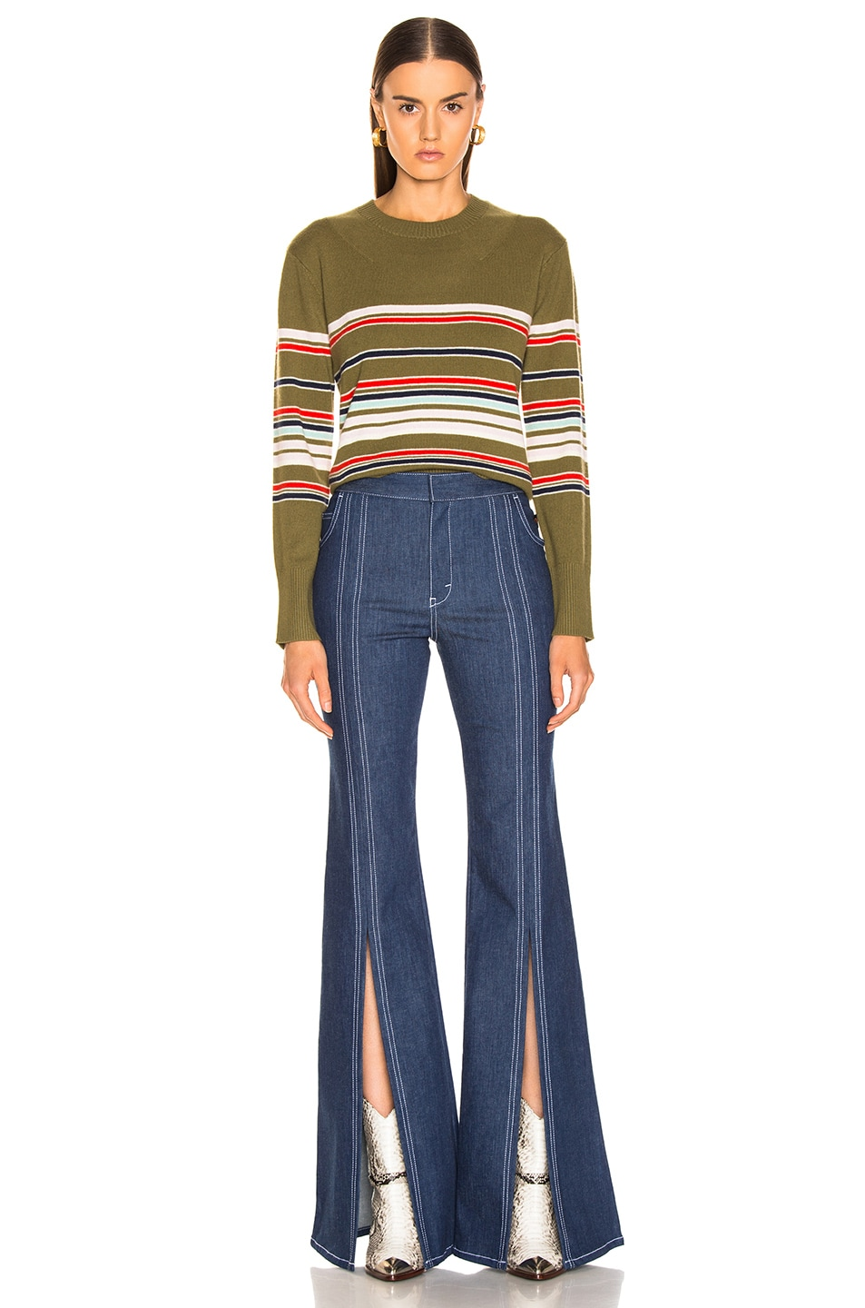Image 4 of Sies Marjan Freddy Striped Sweater in Olive Multi