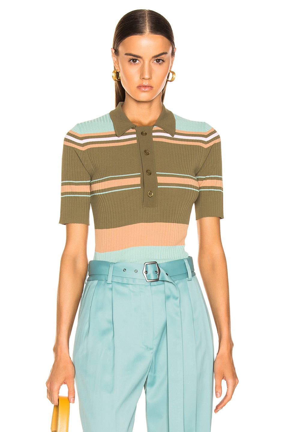 Image 1 of Sies Marjan Rory Collared Sweater in Olive Multi