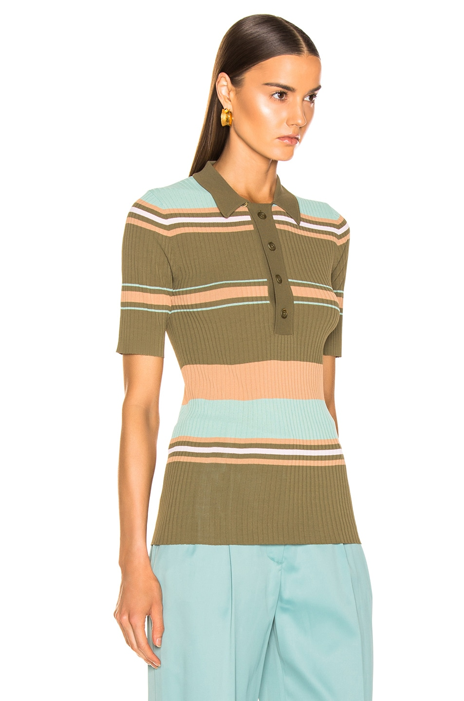 Image 2 of Sies Marjan Rory Collared Sweater in Olive Multi