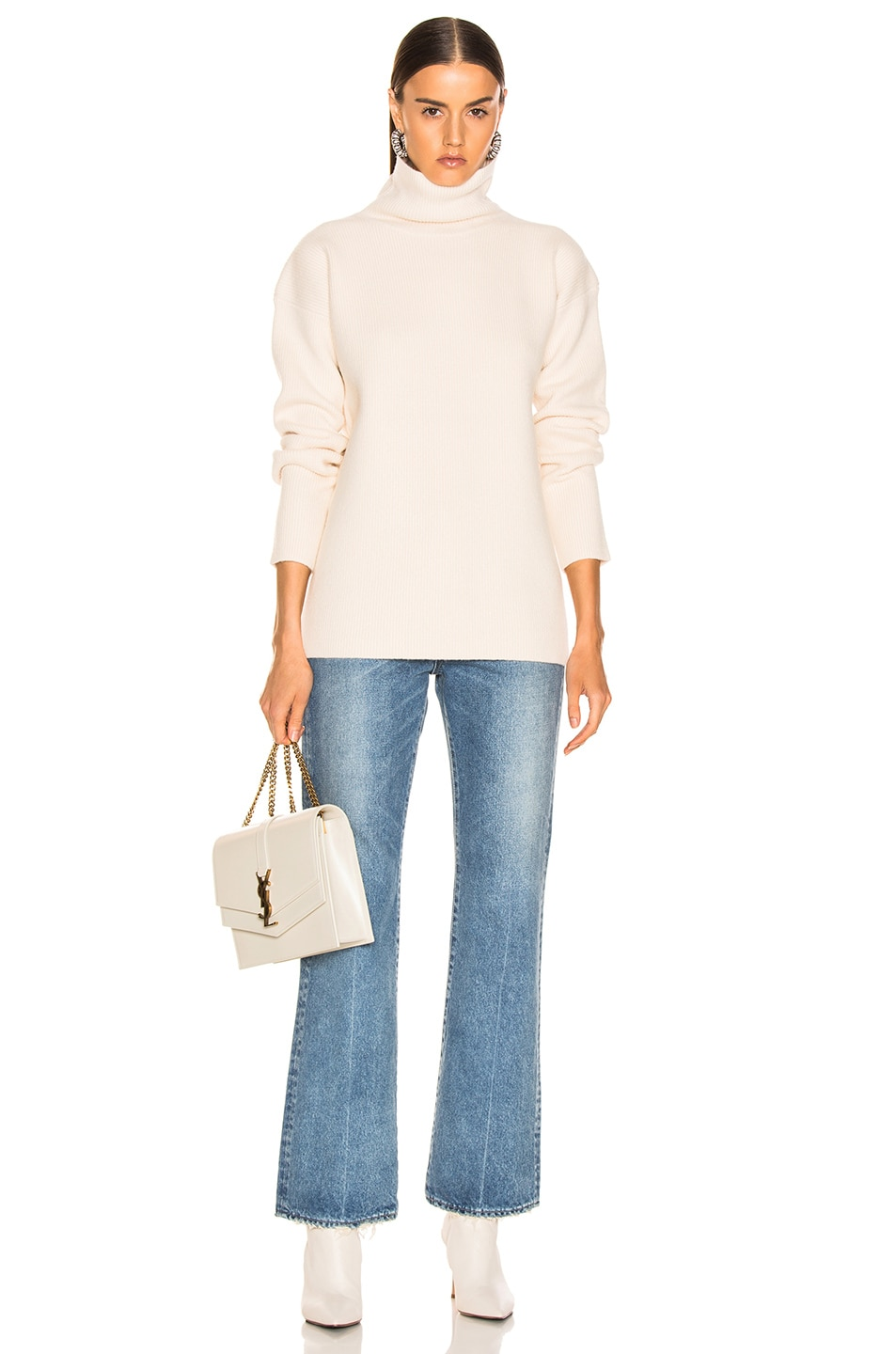 Image 4 of Sies Marjan Wolf Merino Turtleneck Sweater in Pearl