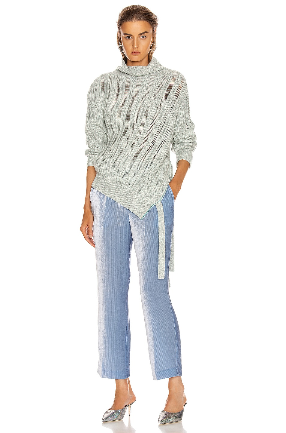 Image 1 of Sies Marjan Nancy Cashmere Turtleneck Sweater in Blue Mint Melange