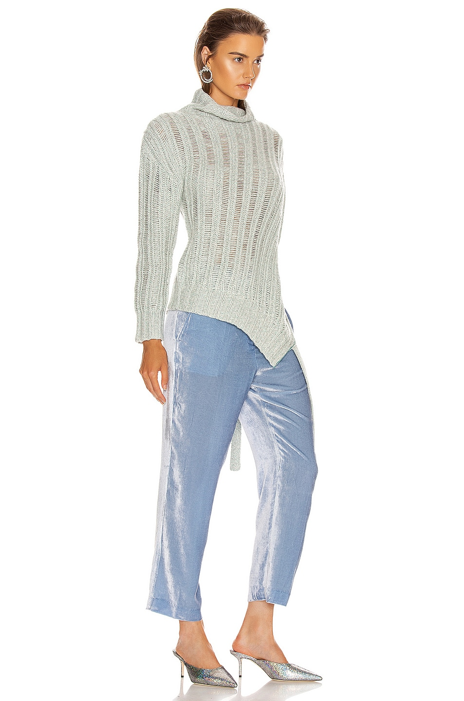 Image 2 of Sies Marjan Nancy Cashmere Turtleneck Sweater in Blue Mint Melange