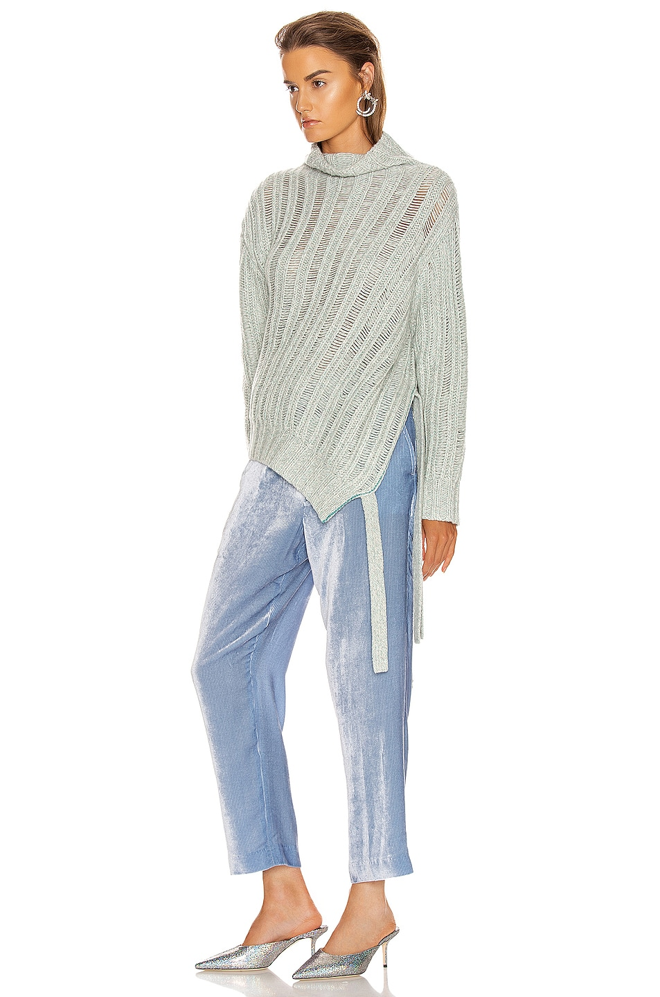 Image 3 of Sies Marjan Nancy Cashmere Turtleneck Sweater in Blue Mint Melange