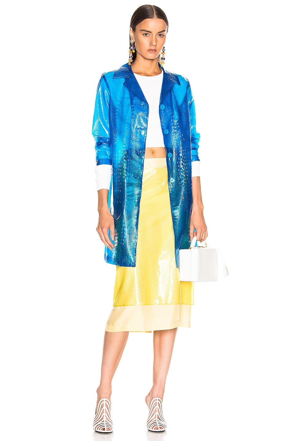 Image 1 of Sies Marjan Mie Embossed Plastic Coat in Sapphire