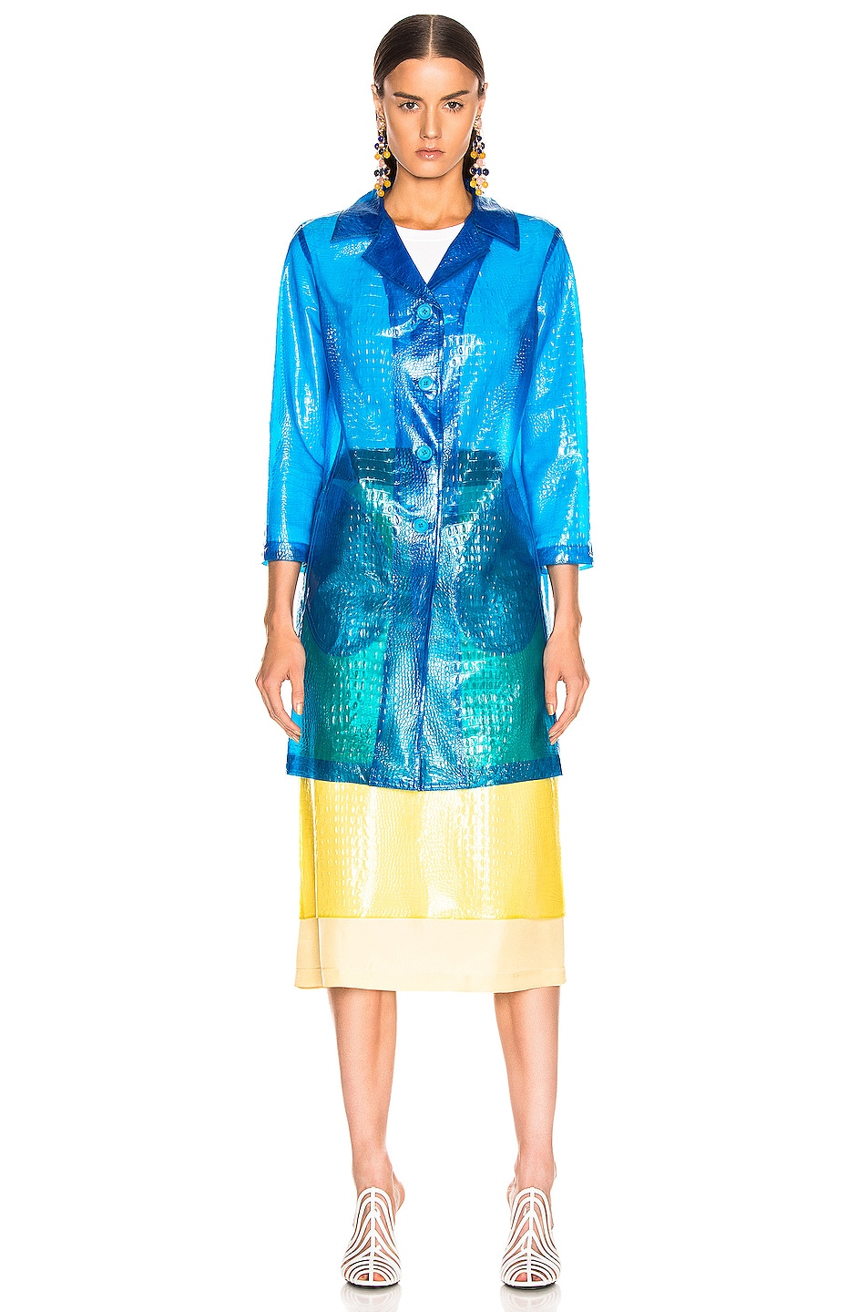 Image 2 of Sies Marjan Mie Embossed Plastic Coat in Sapphire