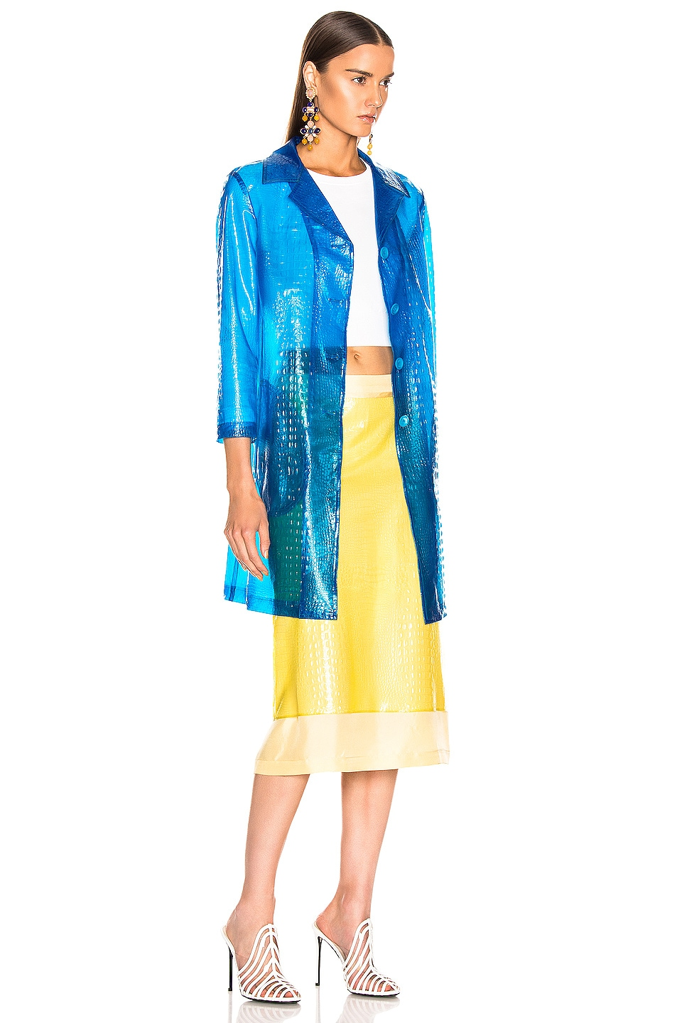 Image 3 of Sies Marjan Mie Embossed Plastic Coat in Sapphire