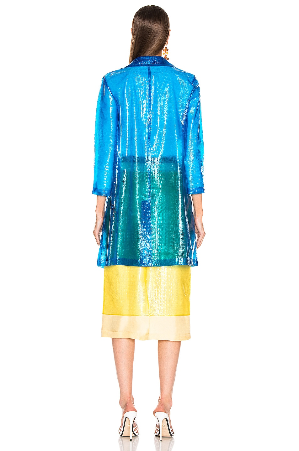 Image 4 of Sies Marjan Mie Embossed Plastic Coat in Sapphire