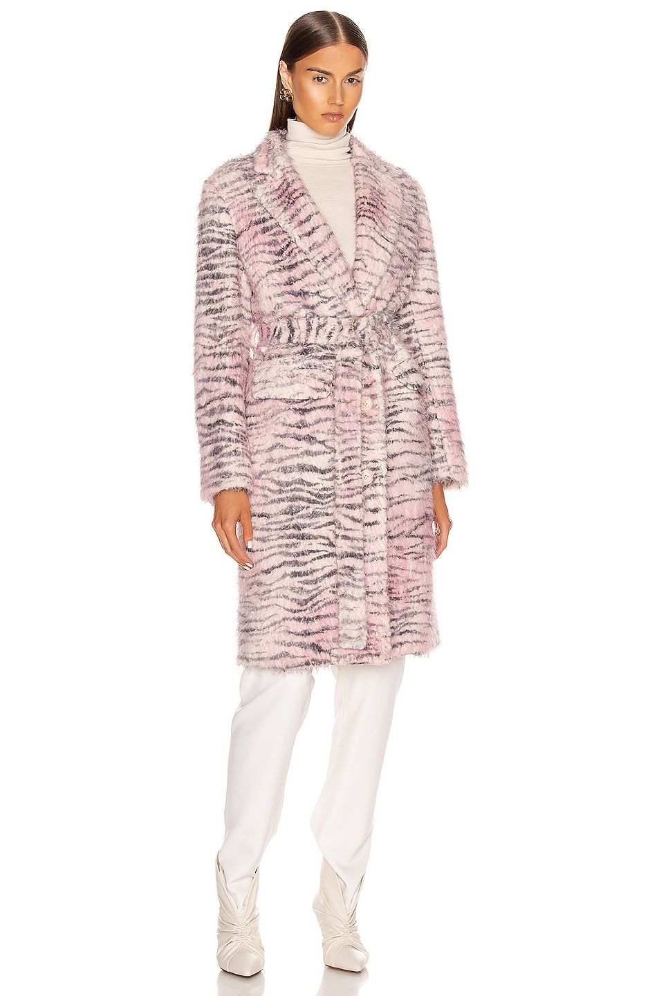Image 1 of Sies Marjan Tatiana Printed Faux Fur Coat in Light Pink Zebra