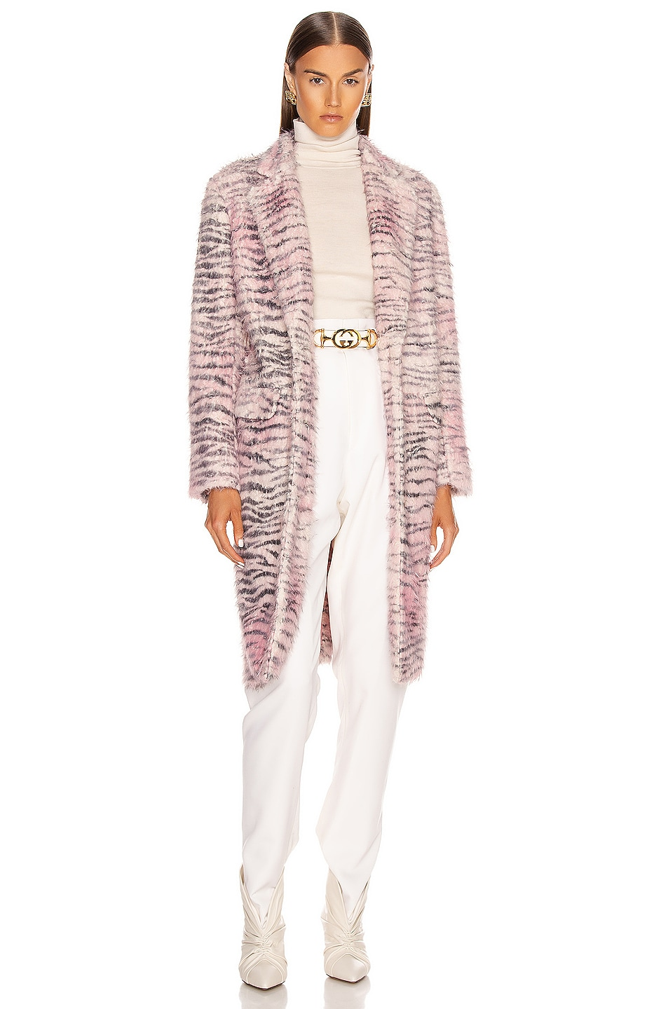 Image 2 of Sies Marjan Tatiana Printed Faux Fur Coat in Light Pink Zebra