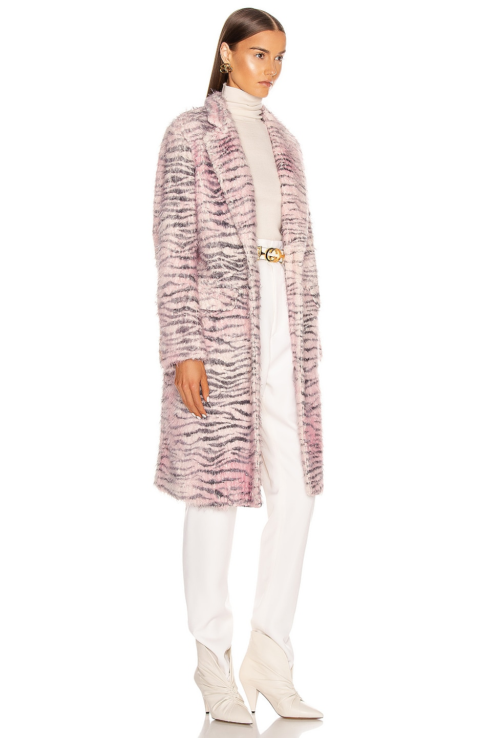 Image 3 of Sies Marjan Tatiana Printed Faux Fur Coat in Light Pink Zebra
