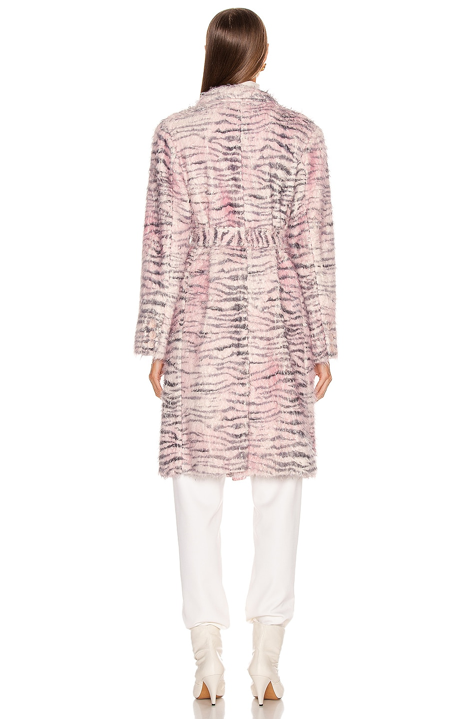 Image 4 of Sies Marjan Tatiana Printed Faux Fur Coat in Light Pink Zebra