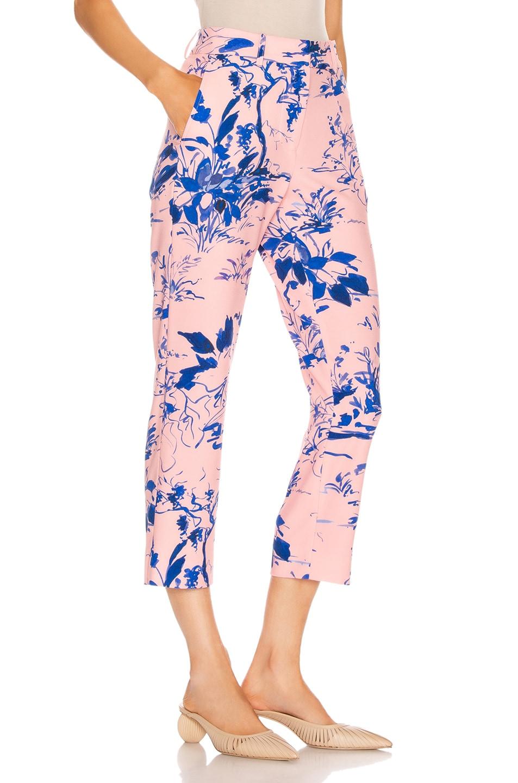 Image 2 of Sies Marjan Willa Printed Crepe Cropped Pant in Water Color Scenery & Sapphire