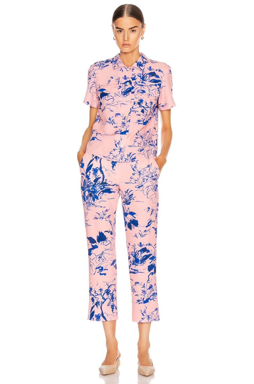 Image 4 of Sies Marjan Willa Printed Crepe Cropped Pant in Water Color Scenery & Sapphire