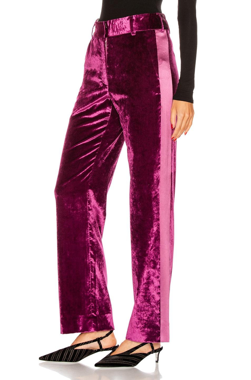 Image 1 of Sies Marjan Sonya Liquid Velvet Slim Pant in Raspberry