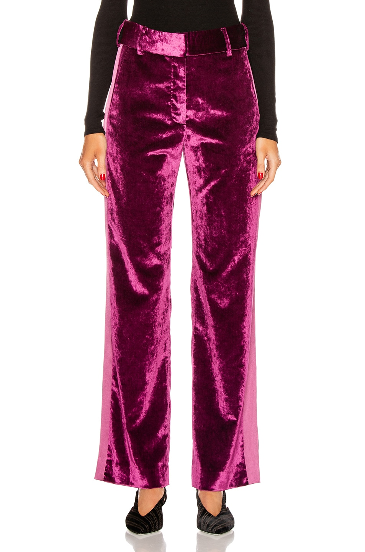 Image 2 of Sies Marjan Sonya Liquid Velvet Slim Pant in Raspberry