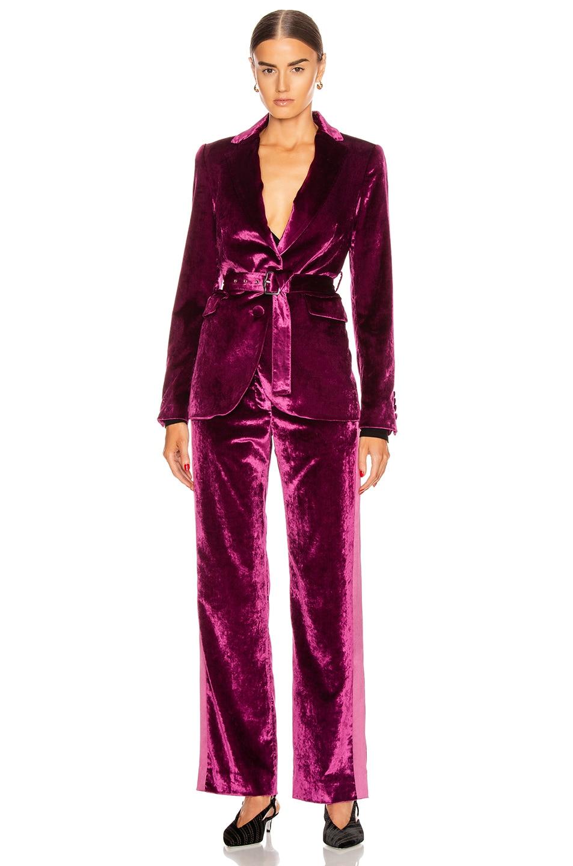 Image 5 of Sies Marjan Sonya Liquid Velvet Slim Pant in Raspberry