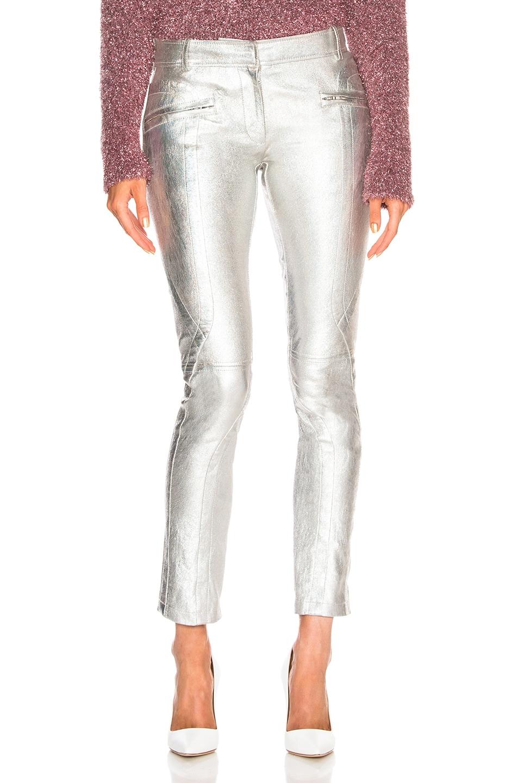 Brin Metallic Textured-Leather Skinny Pants, Metallic Silver
