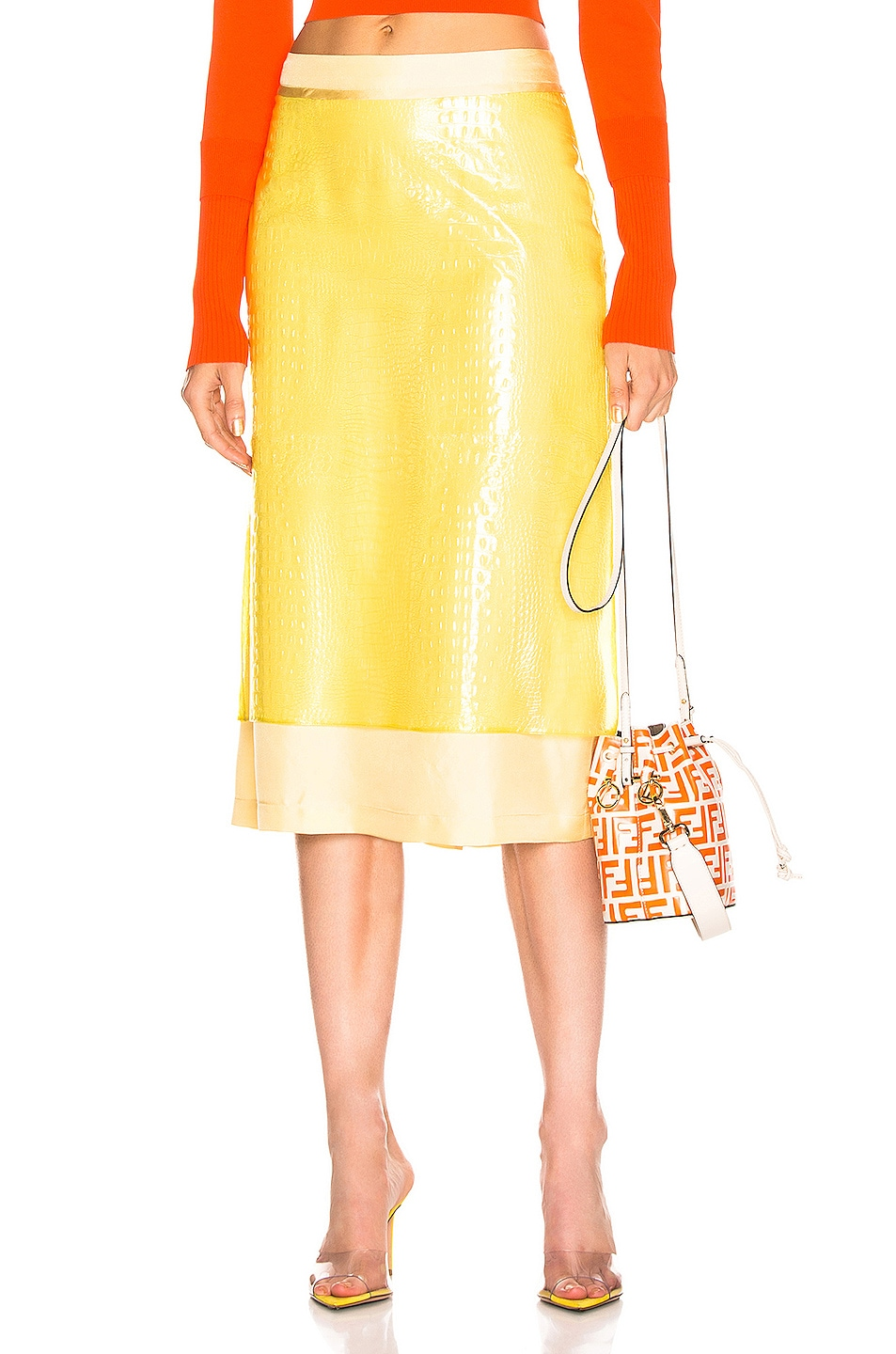 Image 1 of Sies Marjan Sula Plastic Straight Skirt in Lemon