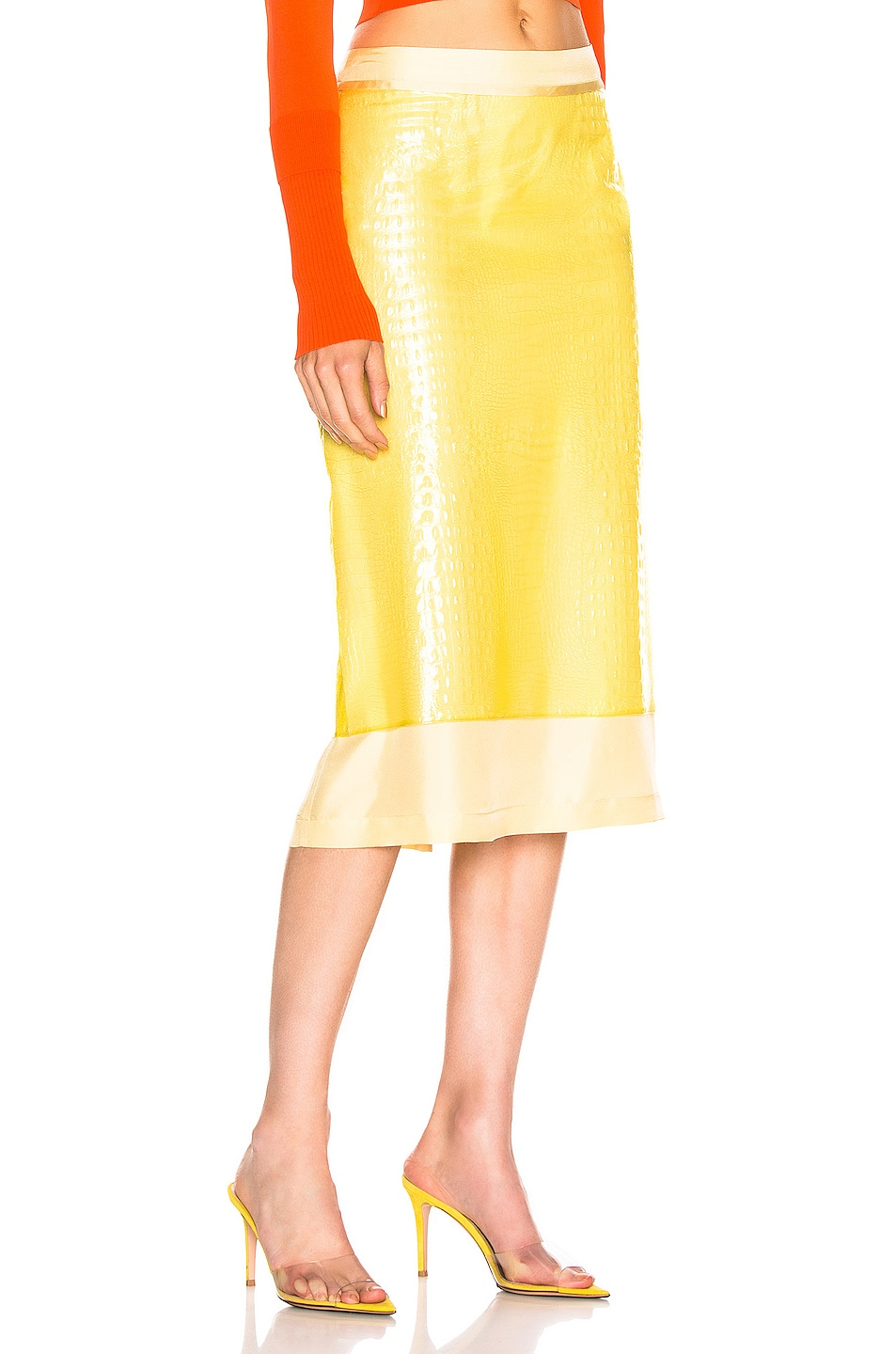 Image 2 of Sies Marjan Sula Plastic Straight Skirt in Lemon