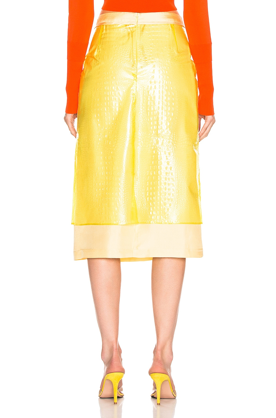Image 3 of Sies Marjan Sula Plastic Straight Skirt in Lemon