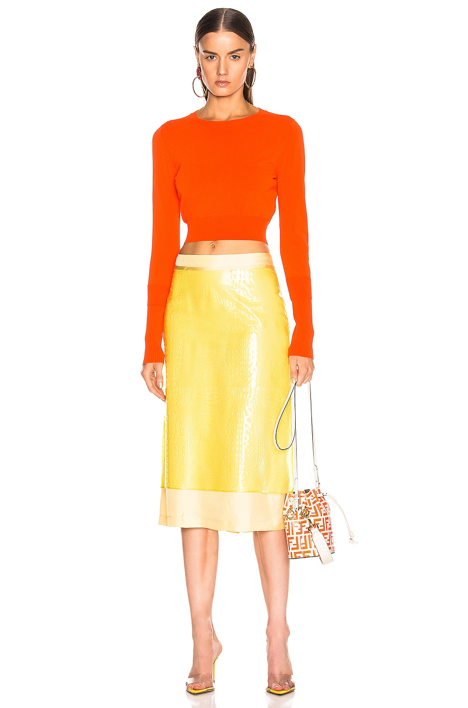 Image 4 of Sies Marjan Sula Plastic Straight Skirt in Lemon