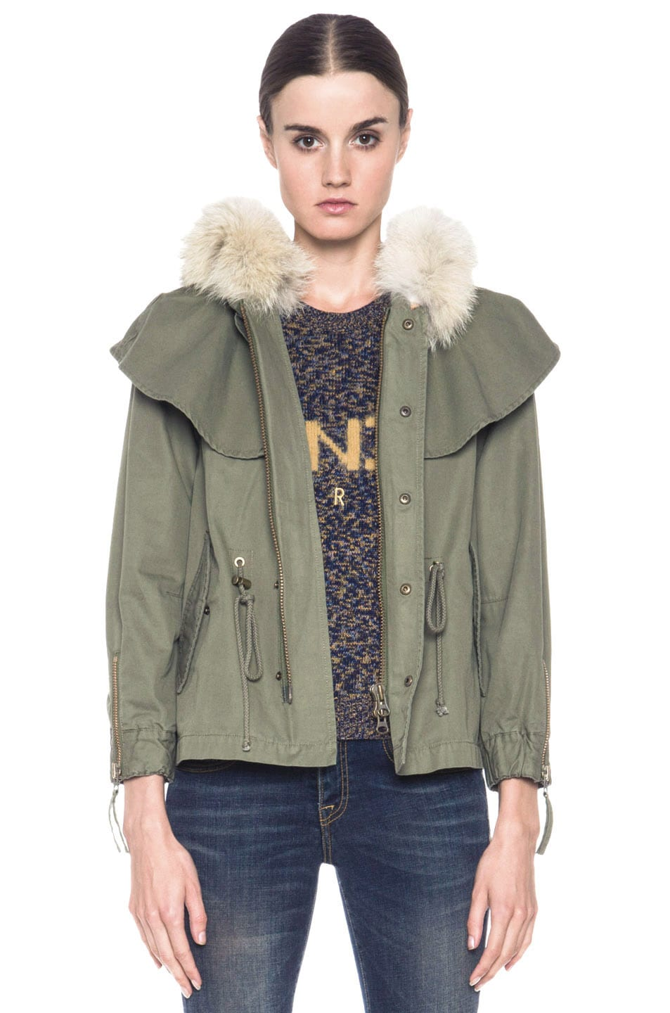 Image 1 of Skaist Taylor Cropped Cape Cotton Jacket with Fur in Army Green