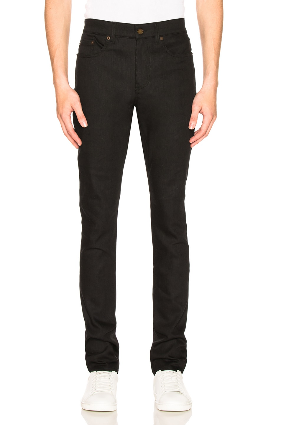 Image 1 of Saint Laurent 5 Pocket Skinny Jeans in Black