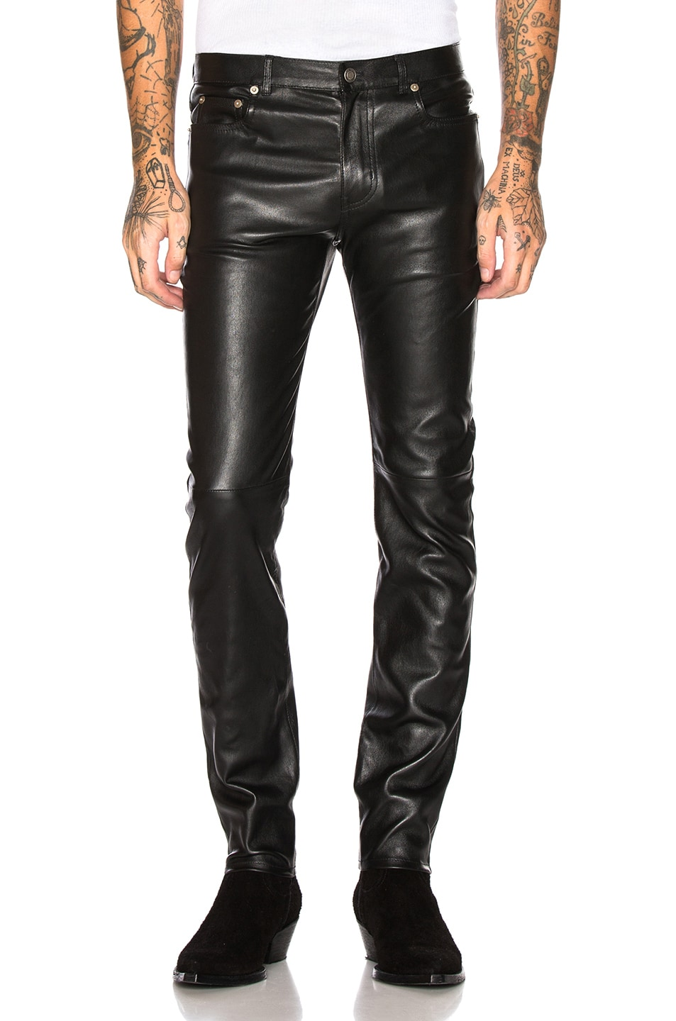 Image 1 of Saint Laurent Leather Skinny Jeans in Black