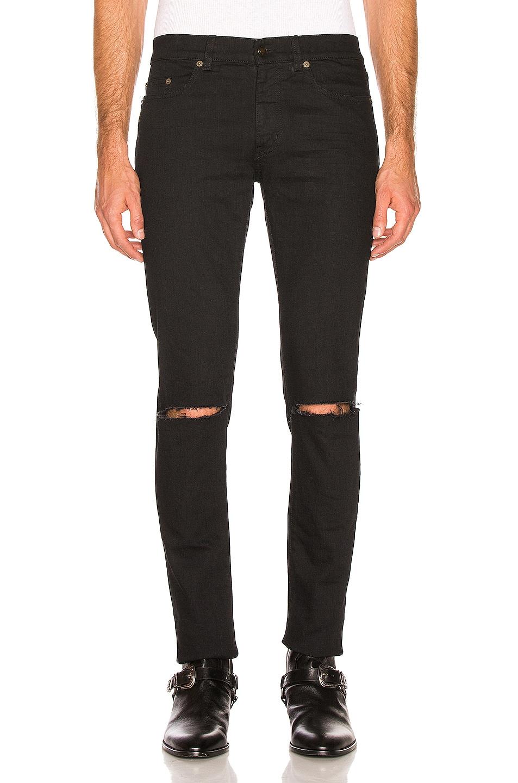 Image 1 of Saint Laurent Distressed Jeans in Black