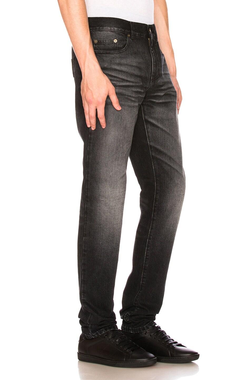 University Patch Jeans in Black,Gray Saint Laurent