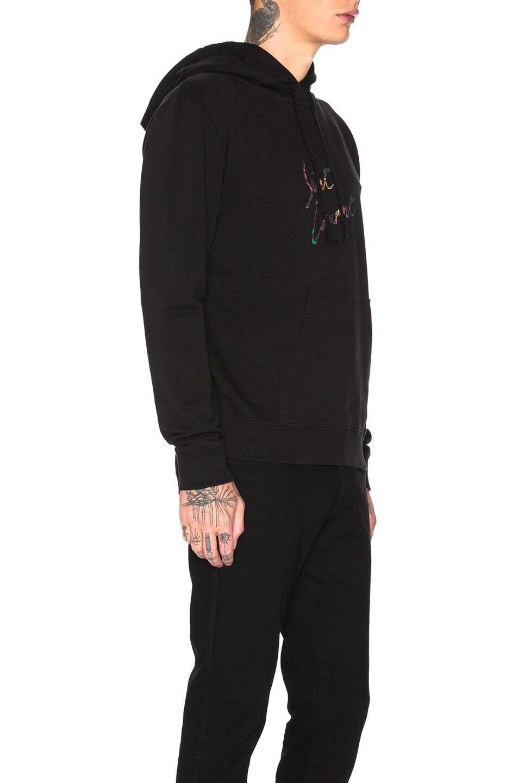 Image 2 of Saint Laurent Logo Distressed Hoodie in Black & Multi