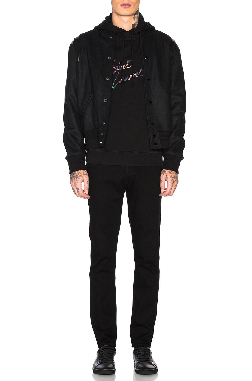 Image 4 of Saint Laurent Logo Distressed Hoodie in Black & Multi