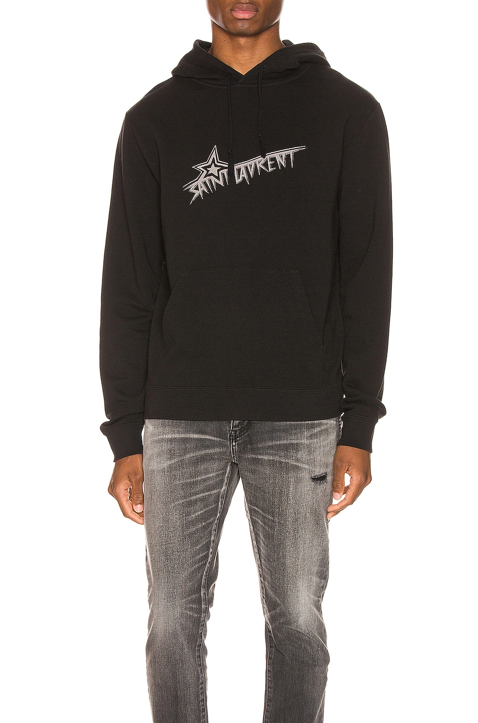 85%OFF Saint Laurent Star Logo Hoodie Black & Natural