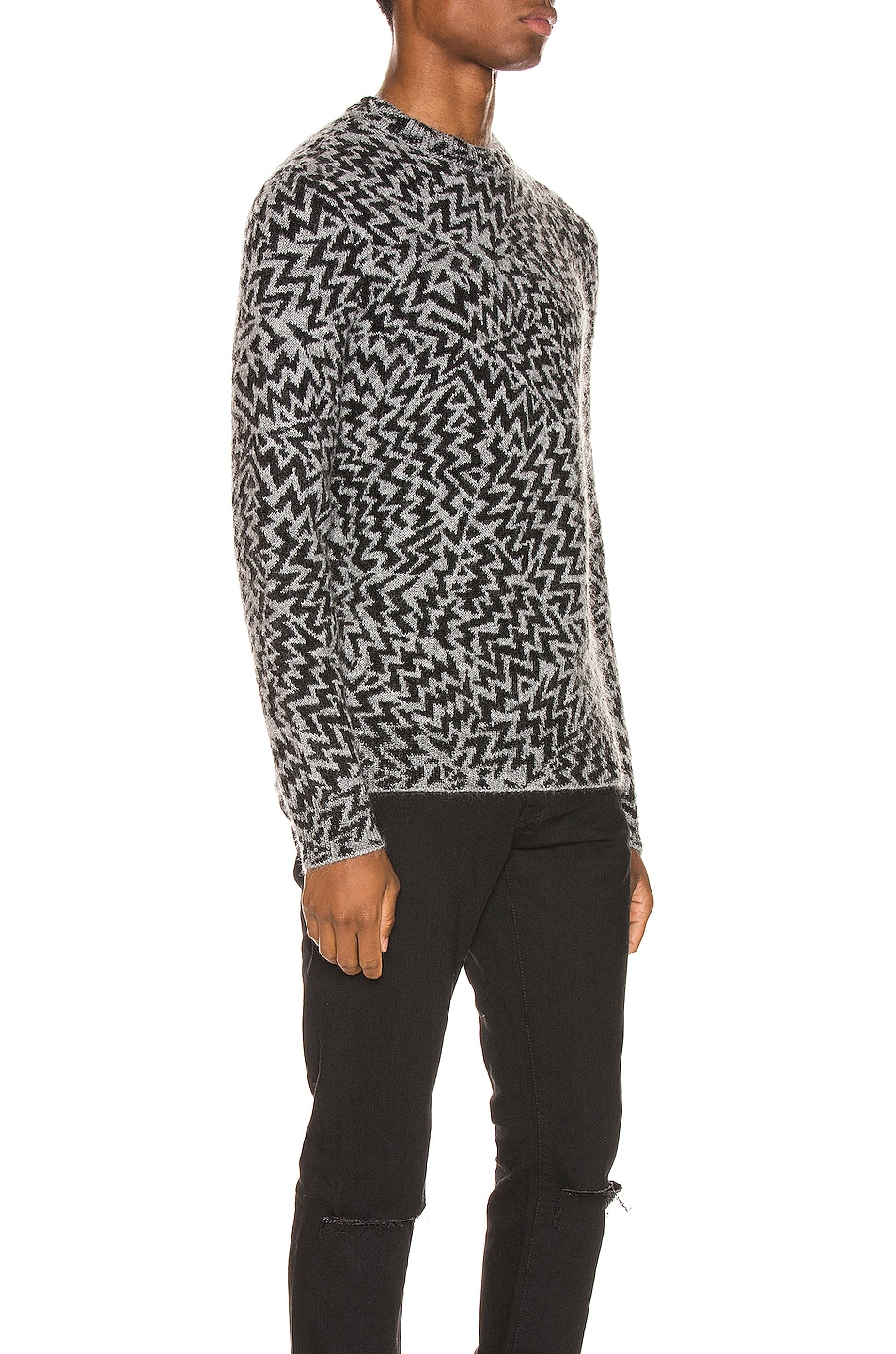 Image 3 of Saint Laurent Comics Jacquard Sweater in Grey