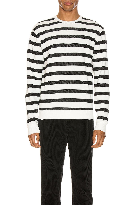 Image 1 of Saint Laurent Striped Sweatshirt in Natural & Black