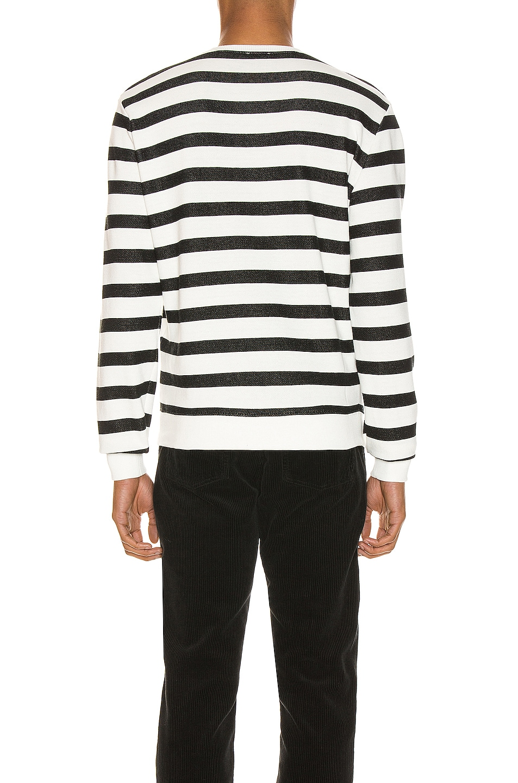 Image 3 of Saint Laurent Striped Sweatshirt in Natural & Black