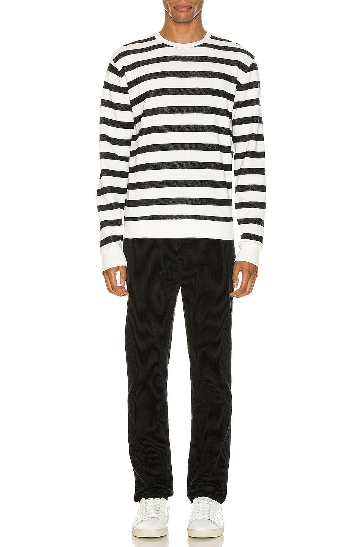 Image 4 of Saint Laurent Striped Sweatshirt in Natural & Black