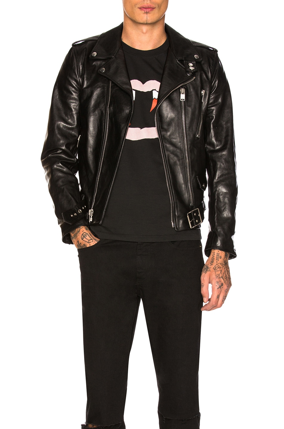 Image 1 of Saint Laurent Leather Jacket in Black