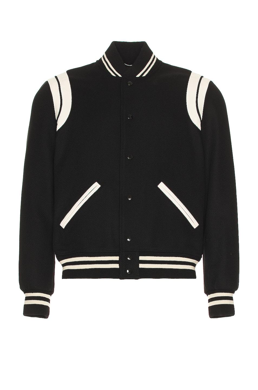 Image 1 of Saint Laurent Teddy Bomber Jacket in Black & White
